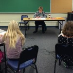 Retired WCS teacher Patty McArdle read questions during each round.