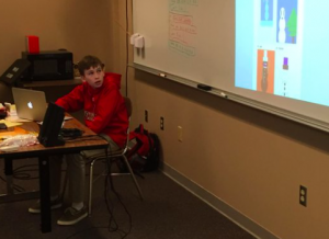 6th Grader Tyler showing the code he used to draw a snowman on Khan Academy